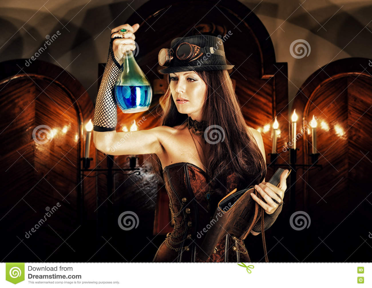 Alchemist. woman witch prepares potion, reads magical book