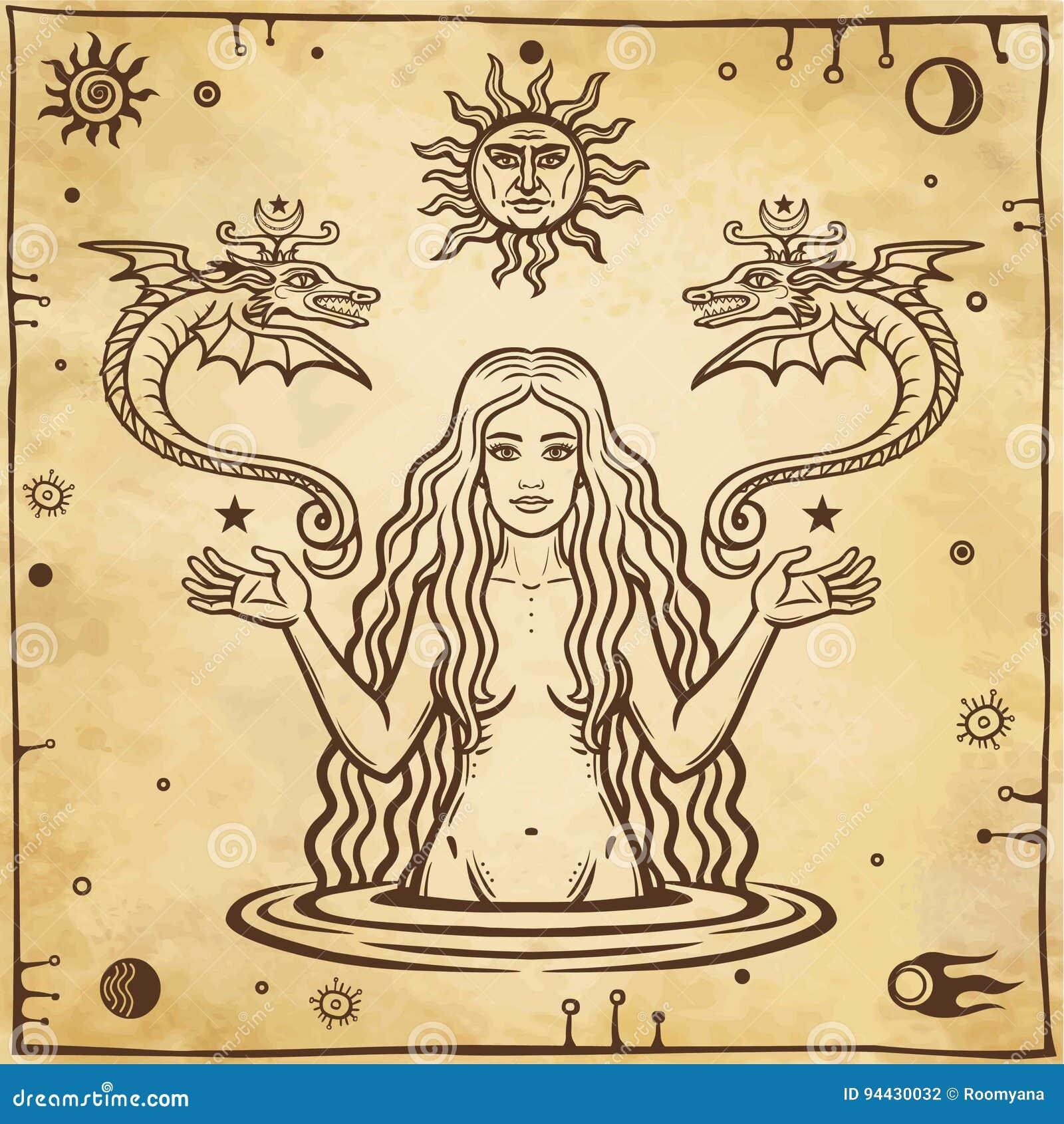 Alchemistische tekening: de jonge mooie vrouw houdt gevleugelde slangen in hand Esoterisch, mysticus, occultisme
