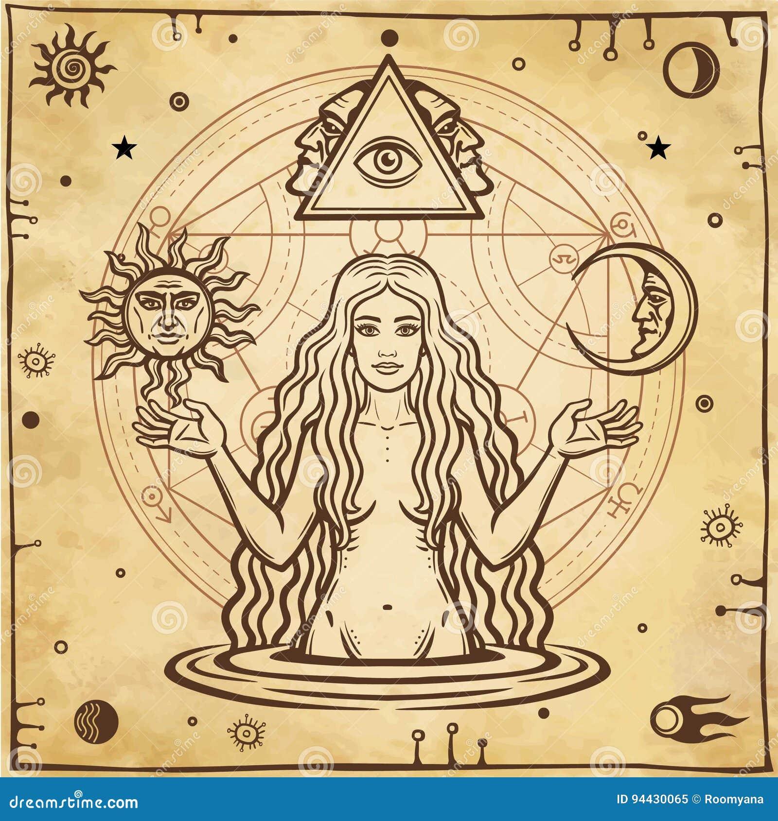 Alchemistische tekening: jonge mooie vrouw, Vooravond` s beeld, vruchtbaarheid, verleiding