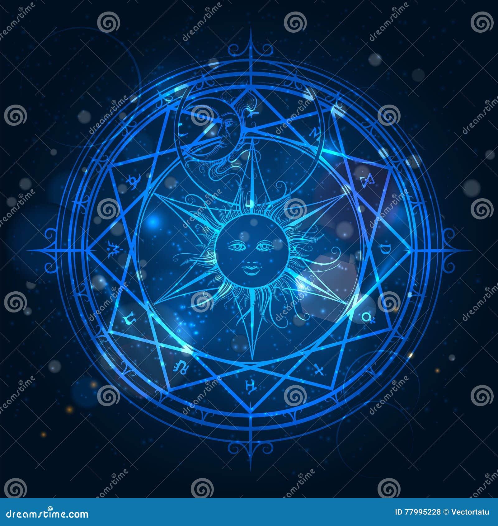 Alchemy magic circle on blue background
