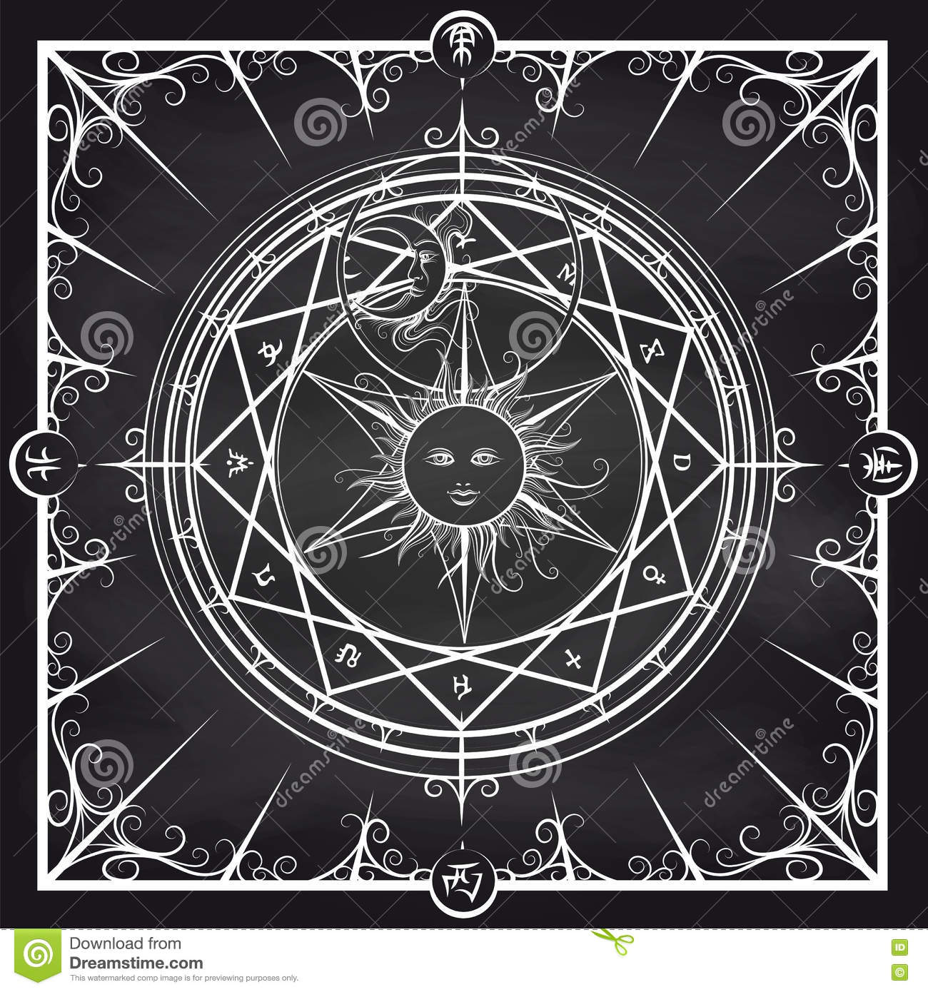 Alchemy magic circle on chalkboard background