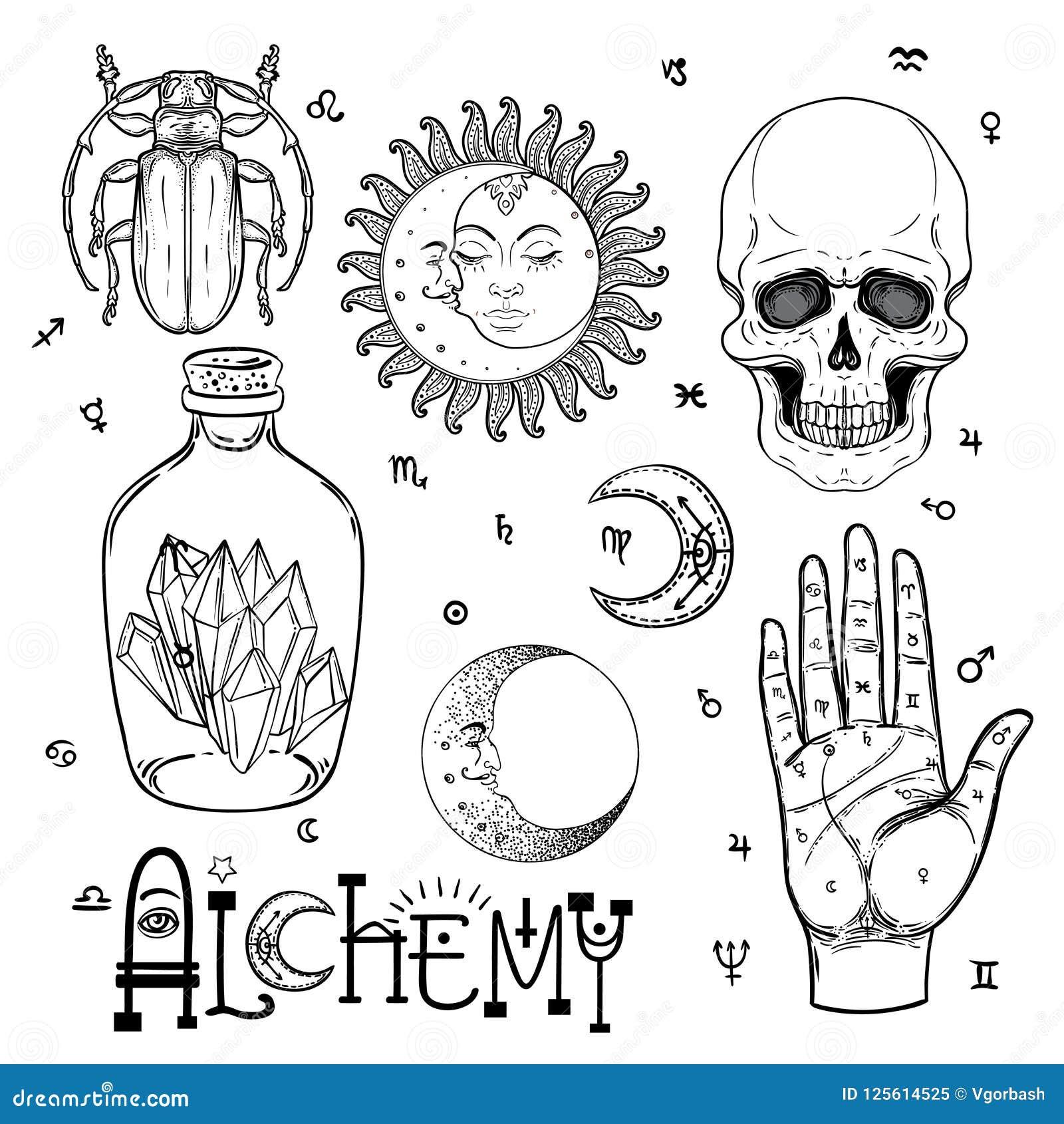 Alchemy Symbol Icon Set Spirituality Occultism Chemistry Mag