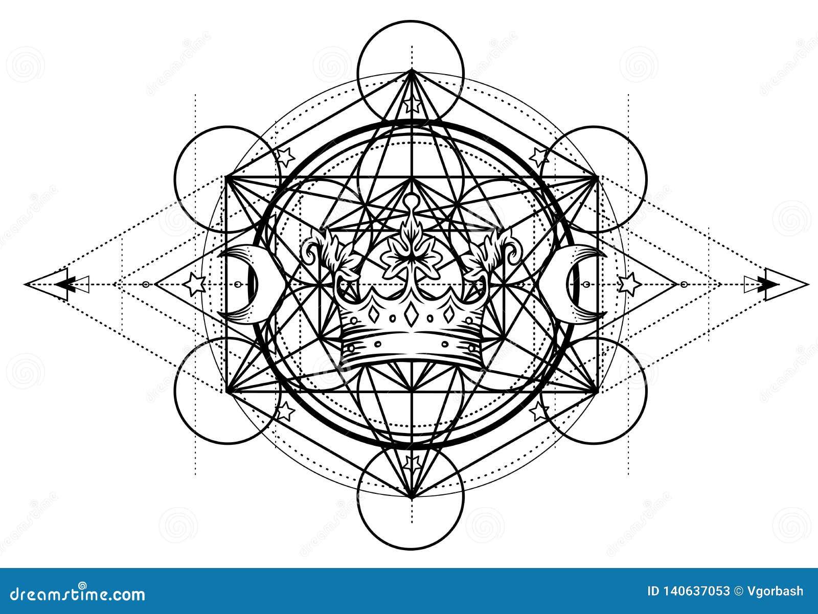 Alchimiesymbool met koninklijke kroon Heilige meetkunde, uitstekend ontwerp Het ontwerp van het tatoegeringsvlees, yogaembleem Bo