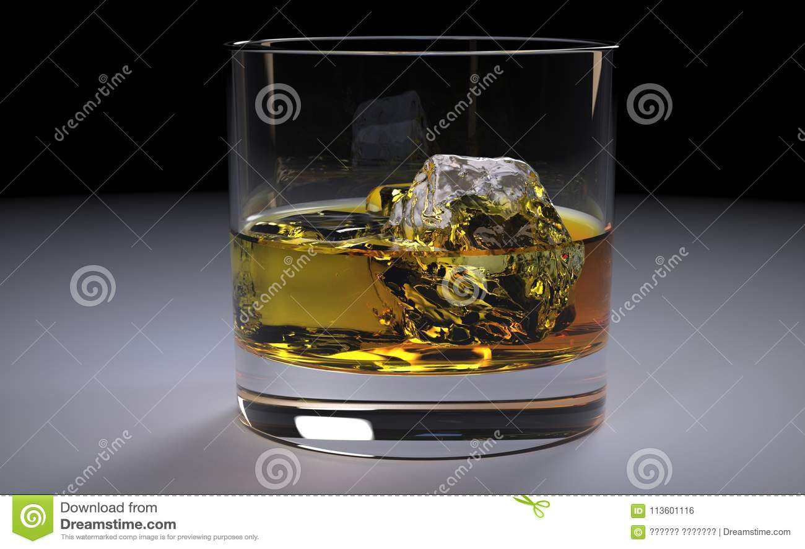 Alcoólico Amber Whiskey Bourbon em um vidro com gelo