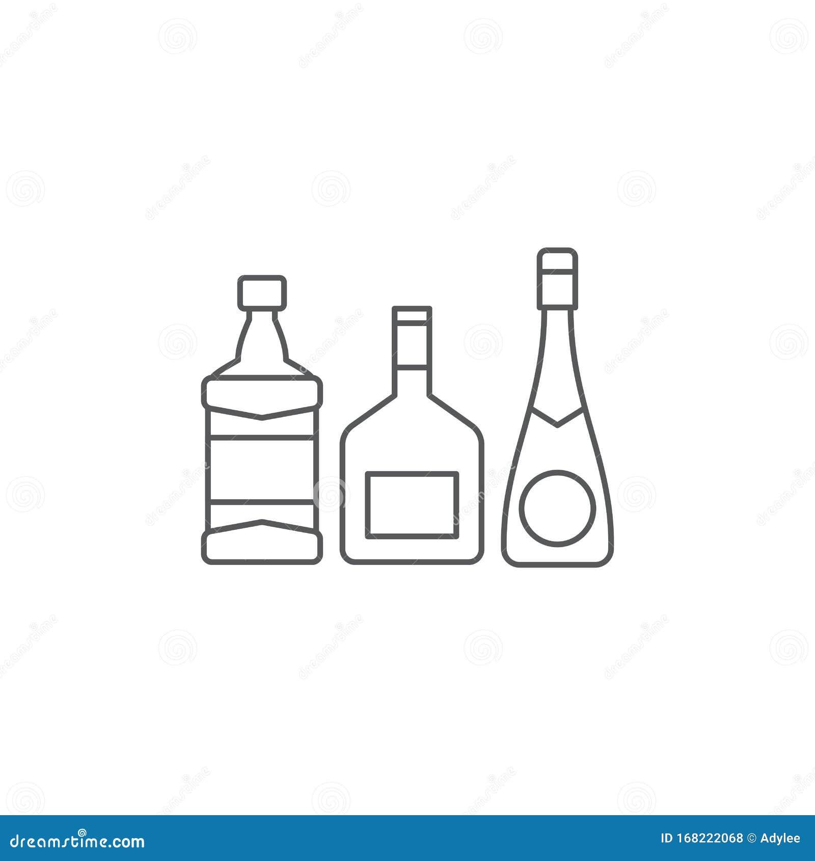 Alcohol Beverage Bottles Icon Vector , Filled Flat Sign
