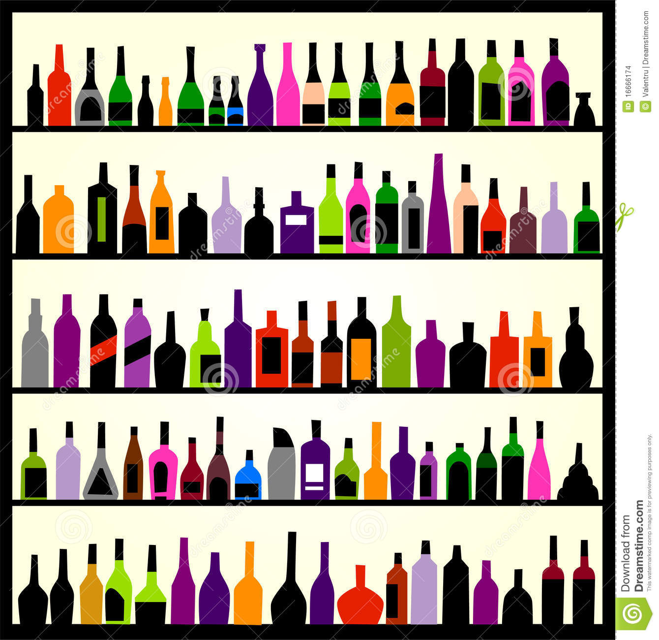 Alcohol Bottles On The Wall Stock Images - Image: 16666174