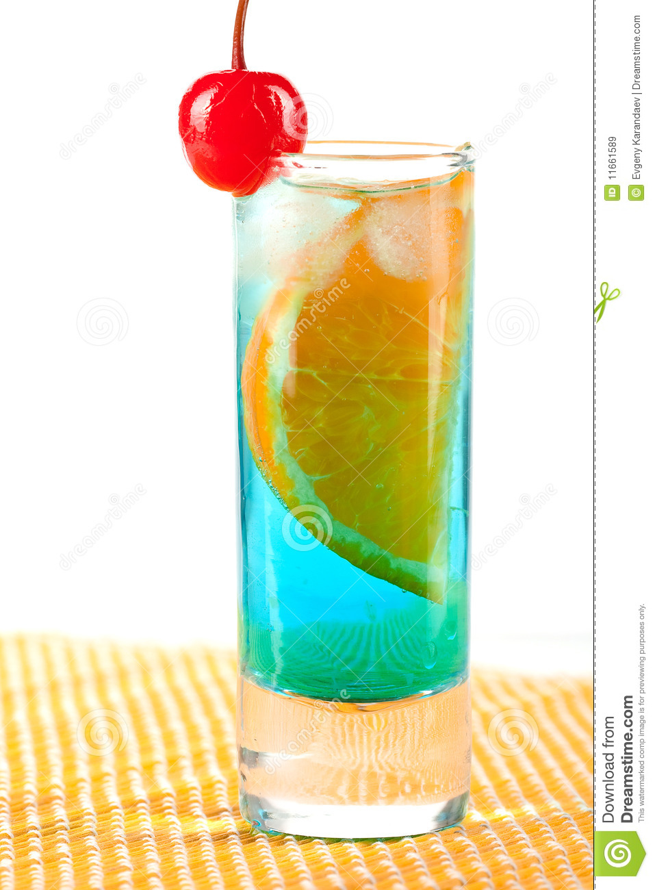 Alcohol cocktail with blue curacao orange and mar stock for Orange and blue cocktails