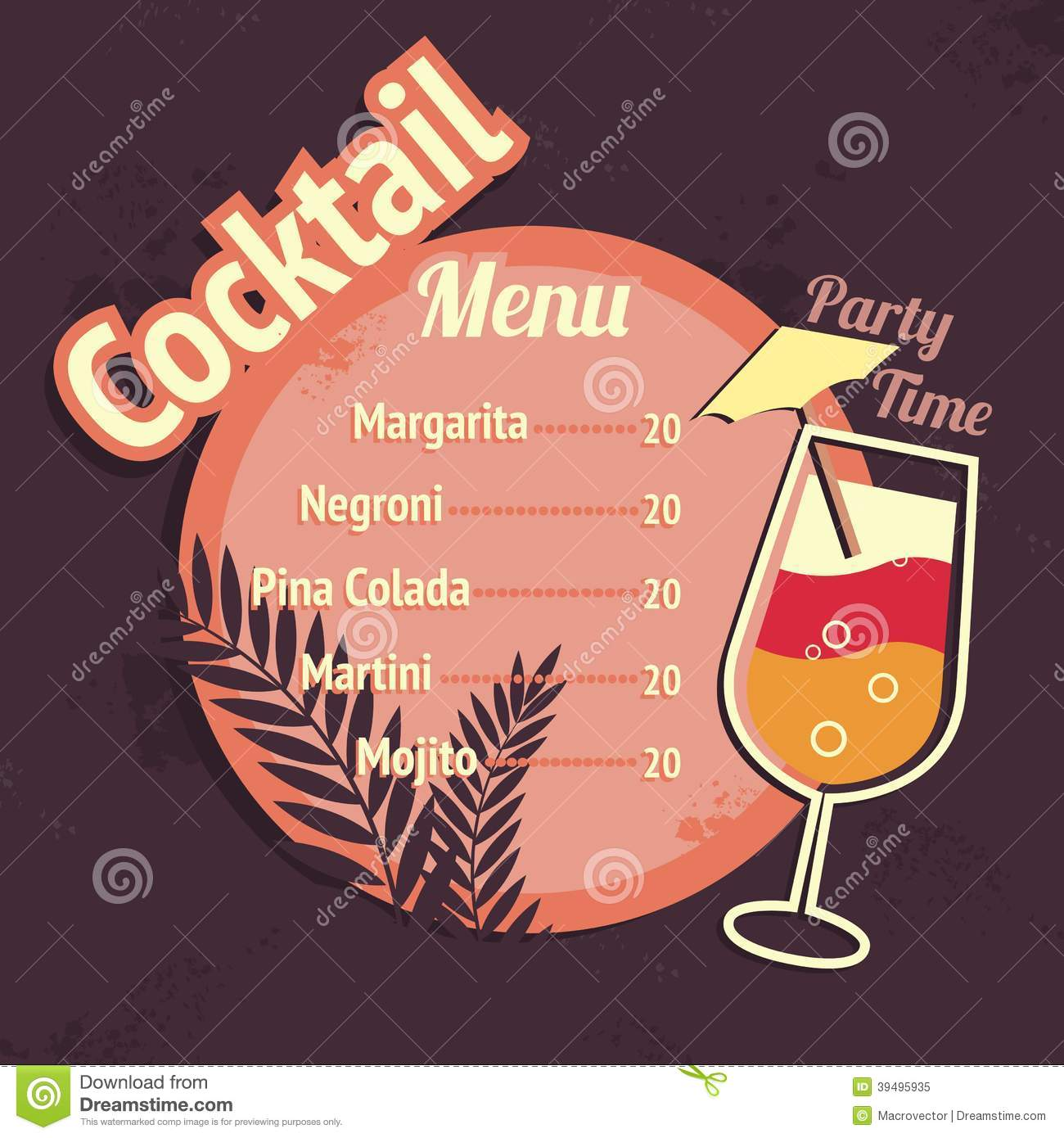 Drink Menu Template Vector Image 41096432 – Drinks Menu Template Free