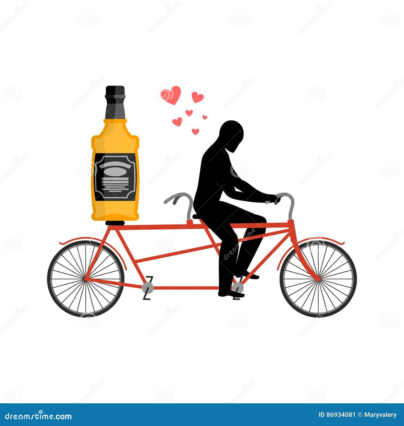 Alcohol de la bebida del amante Botella de whisky en la bici El hombre rueda el brandy