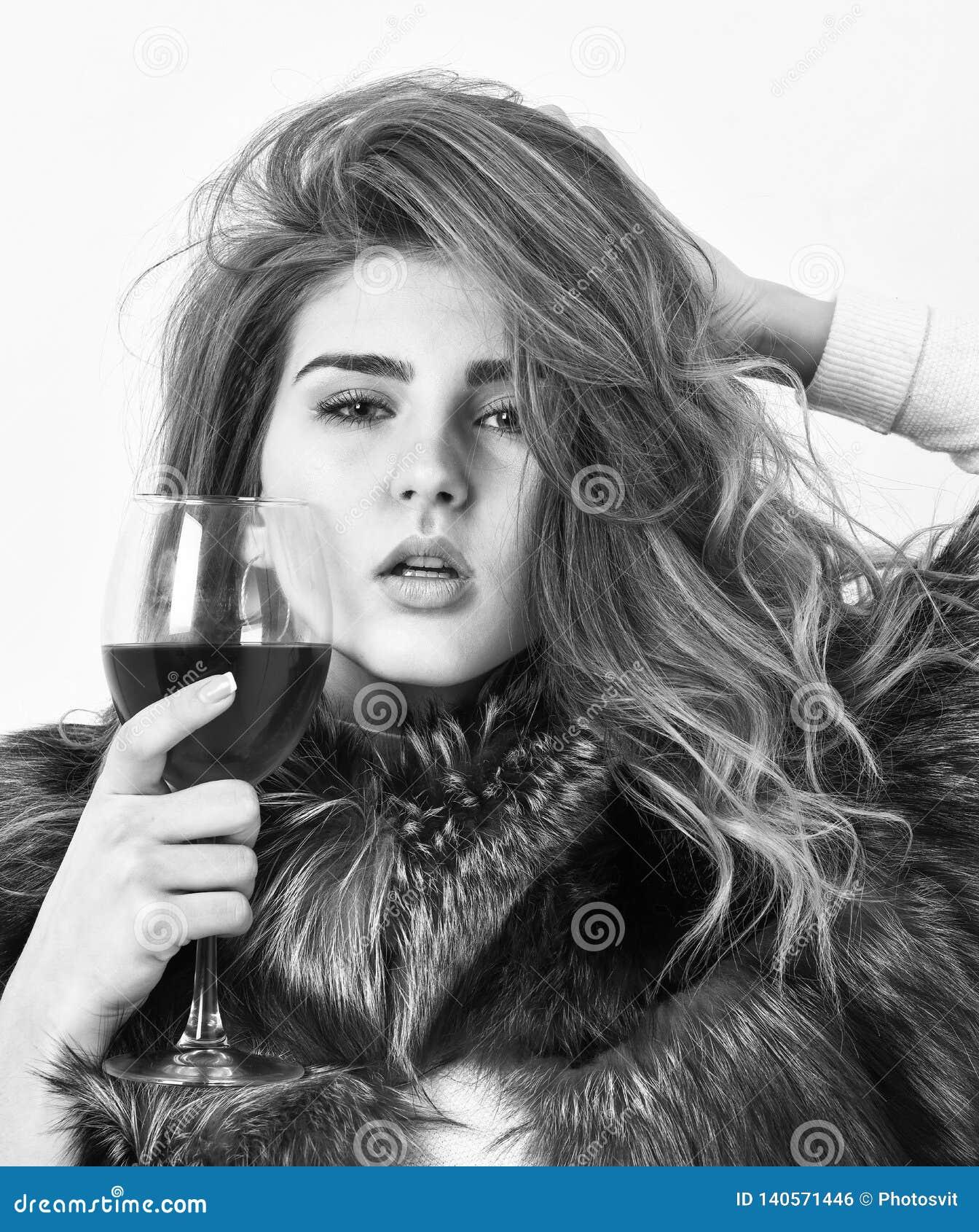 Alcohol del vidrio del control del abrigo de pieles del desgaste del maquillaje de la moda de la muchacha Ocio de la élite Las ra