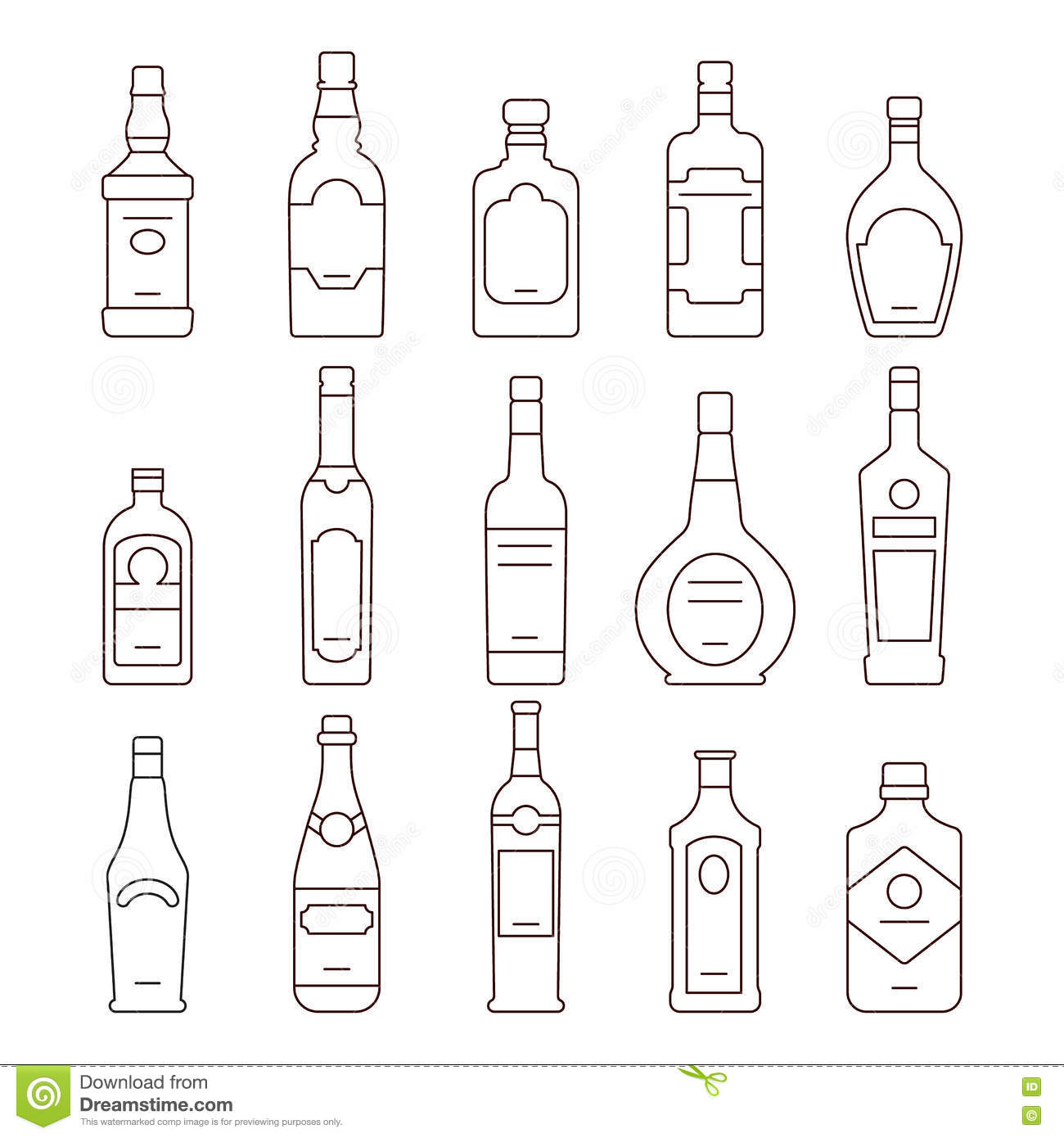 Set of different alcohol drink bottles stock vector illustration alcohol drink bottles types of vector icons set royalty free stock image biocorpaavc Gallery