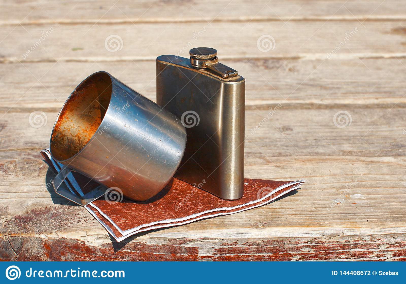 Drinking metal cup and flask