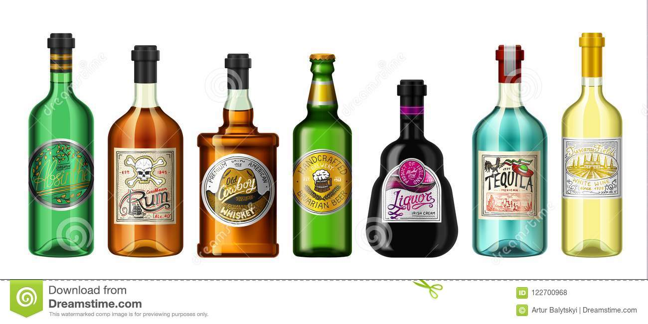 Alcohol drinks in a bottle with different vintage labels. Realistic Absent Liqueur Tequila Wine Whiskey Beer Rum. Vector