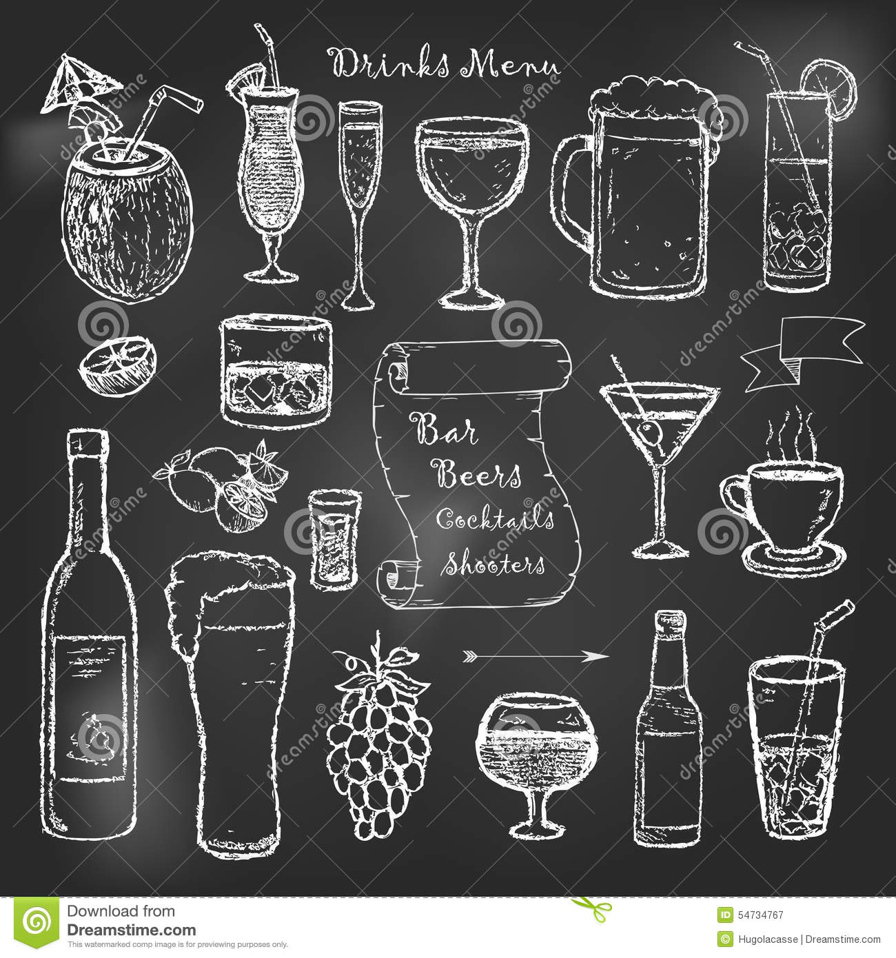 alcohol and drinks cocktails menu on black board stock vector image 54734767 Shot Glass Vector Black Shot Glass Clip Art