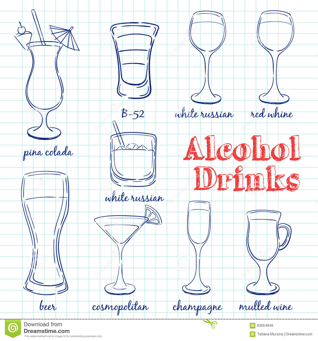 Alcohol drinks hand drawn illustration stock vector for Cocktail recipes with ingredients on hand