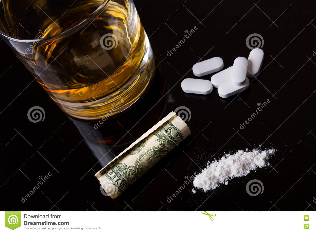 Alcohol, drugs and cocaine