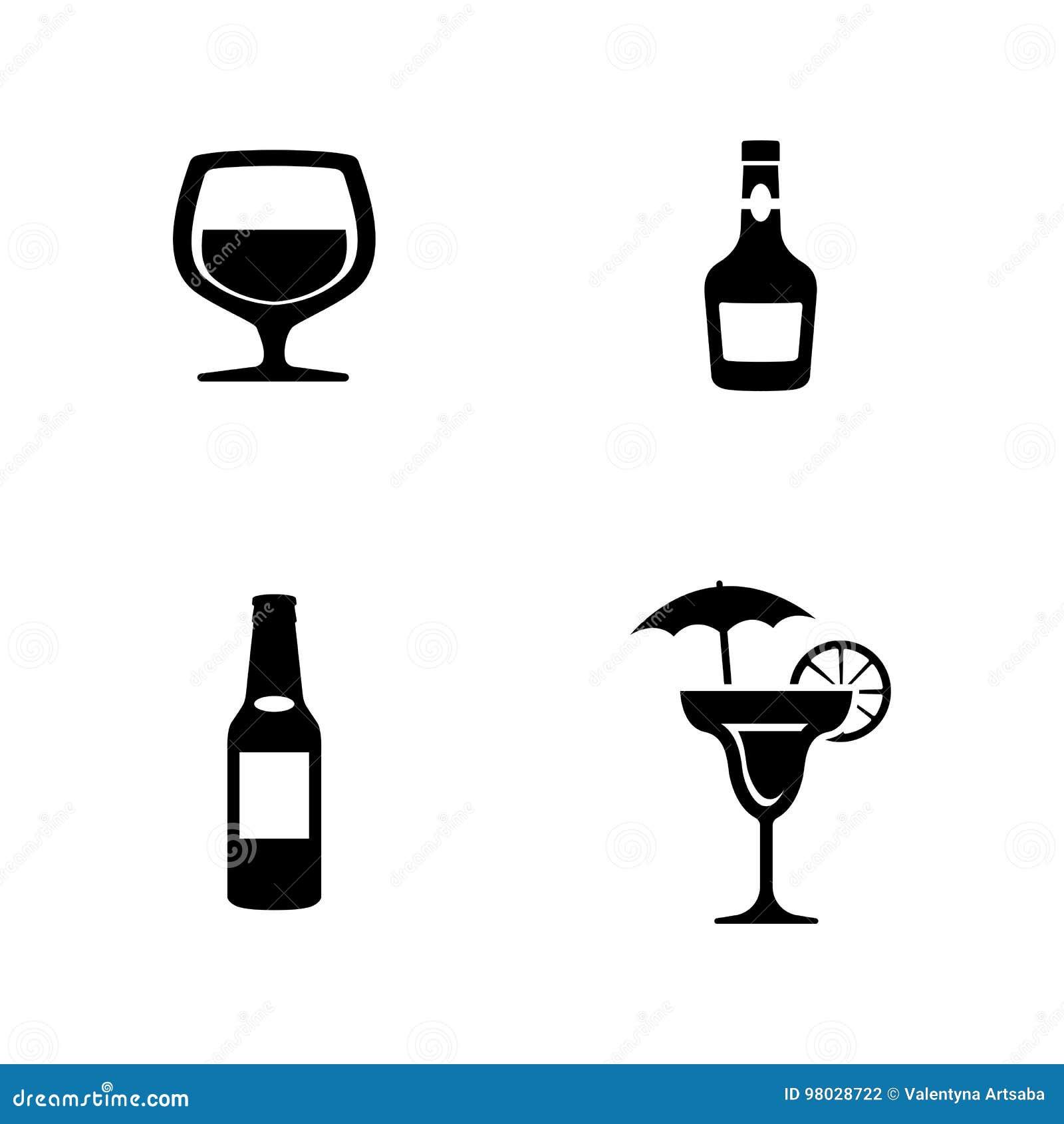 Alcohol Einfache in Verbindung stehende Vektor-Ikonen