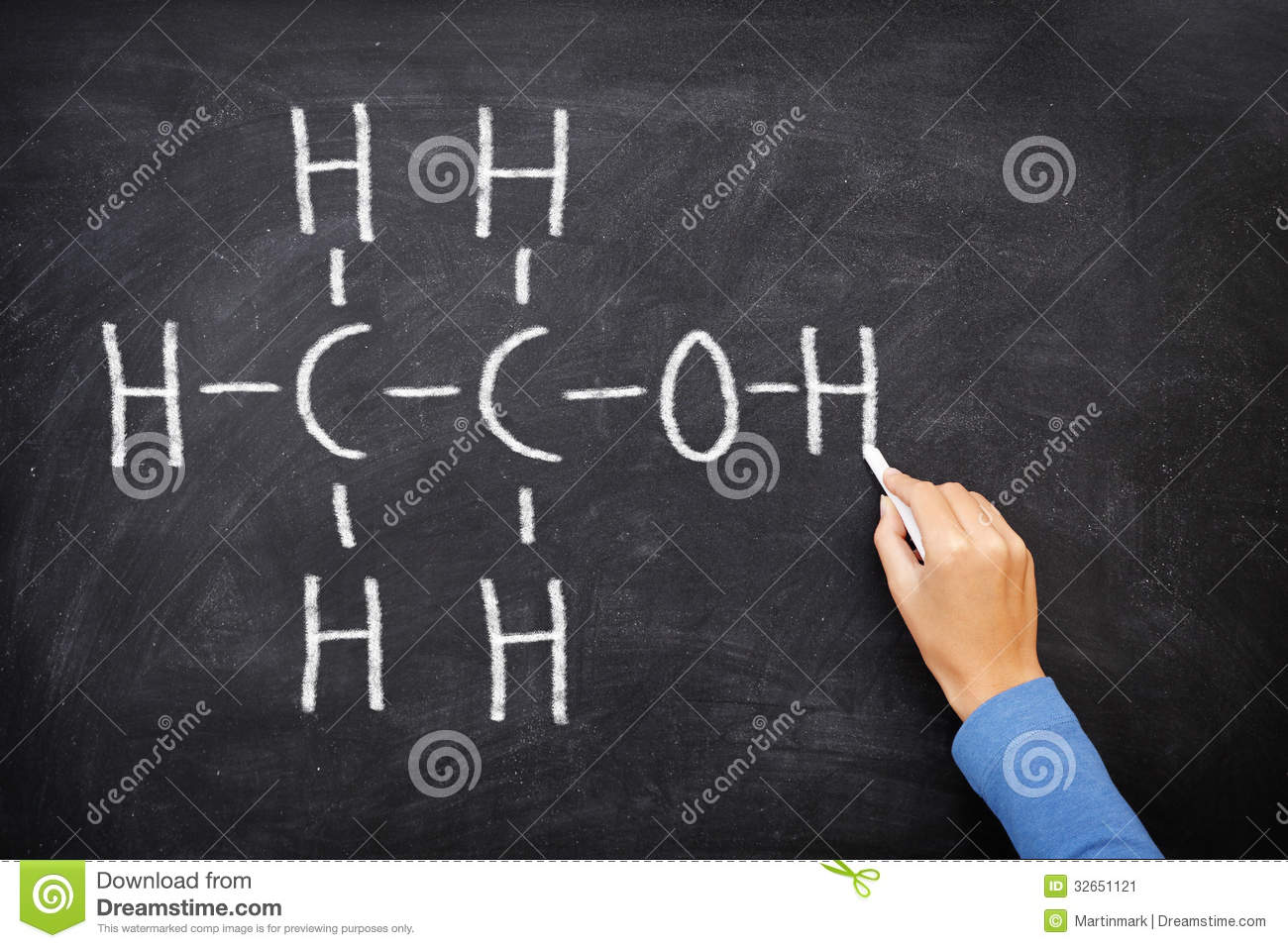 alcohol ethanol on blackboard in chemistry class stock