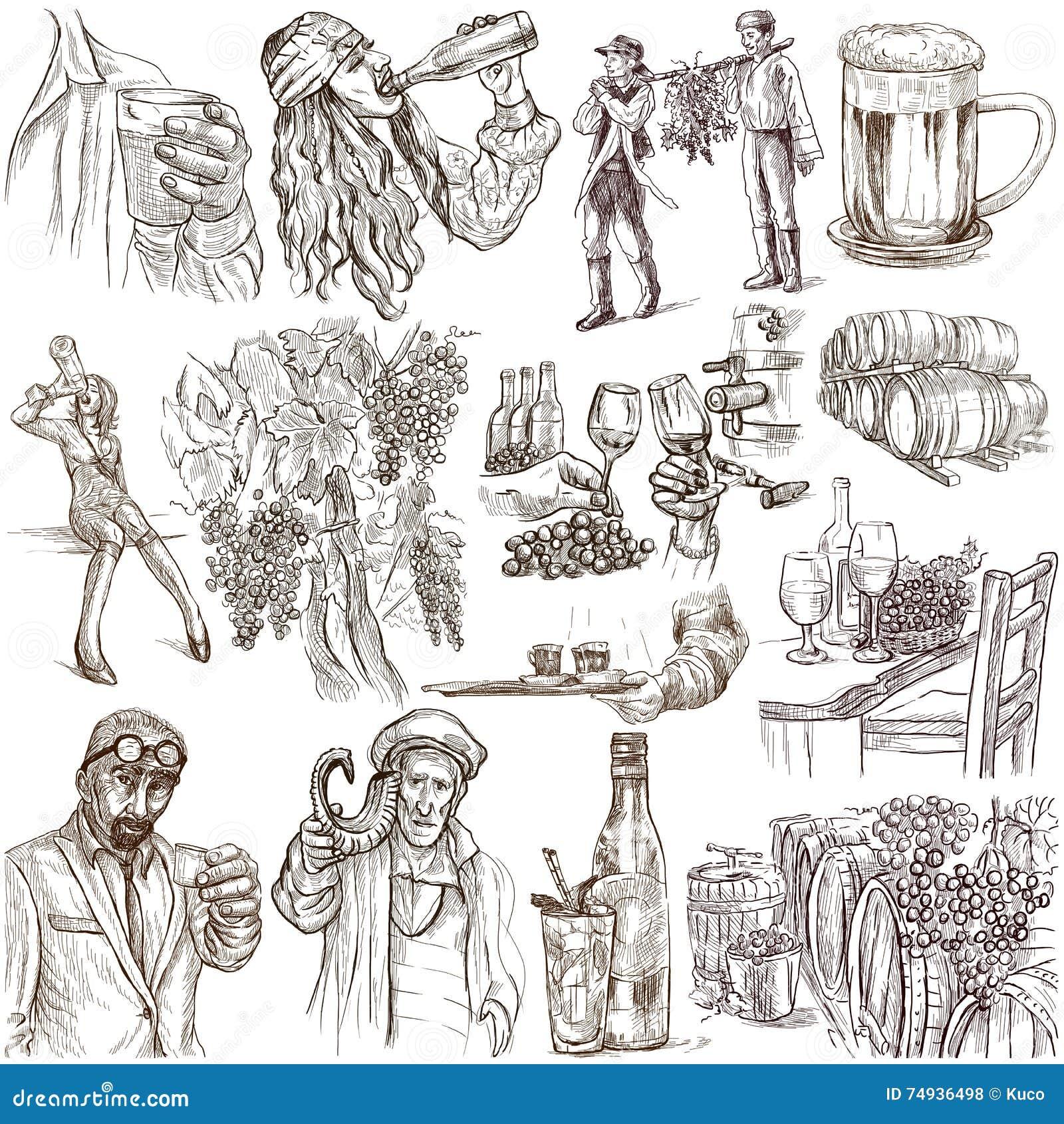 Alcohol Freehands, Hand gezeichnete Sammlung Linie Kunst