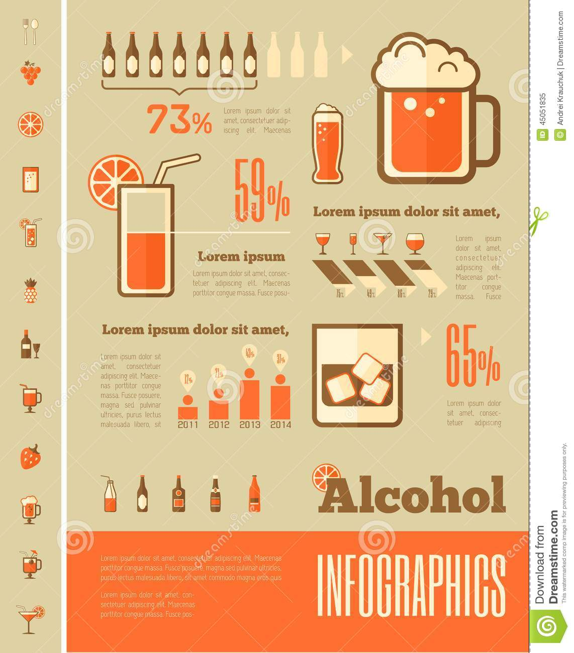 Alcohol Infographic Template Stock Vector Image 45051835
