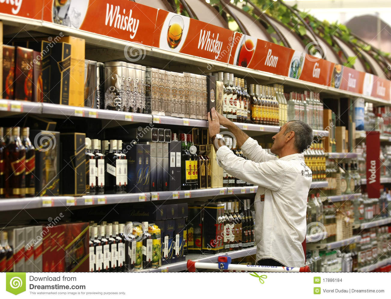 Alcohol And Liqour Shopping At Supermarket Editorial Stock