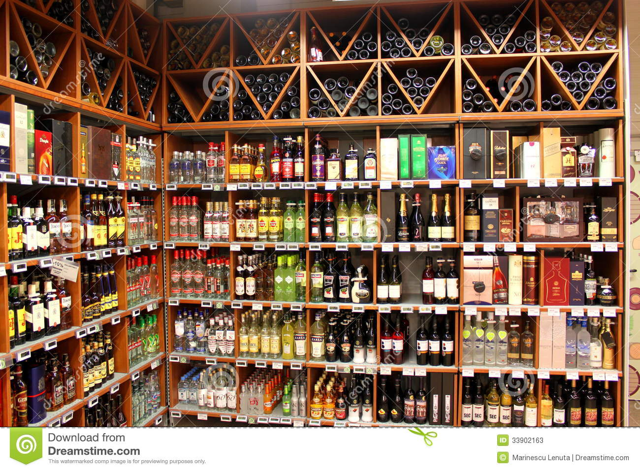 Alcohol store editorial stock photo. Image of city ...
