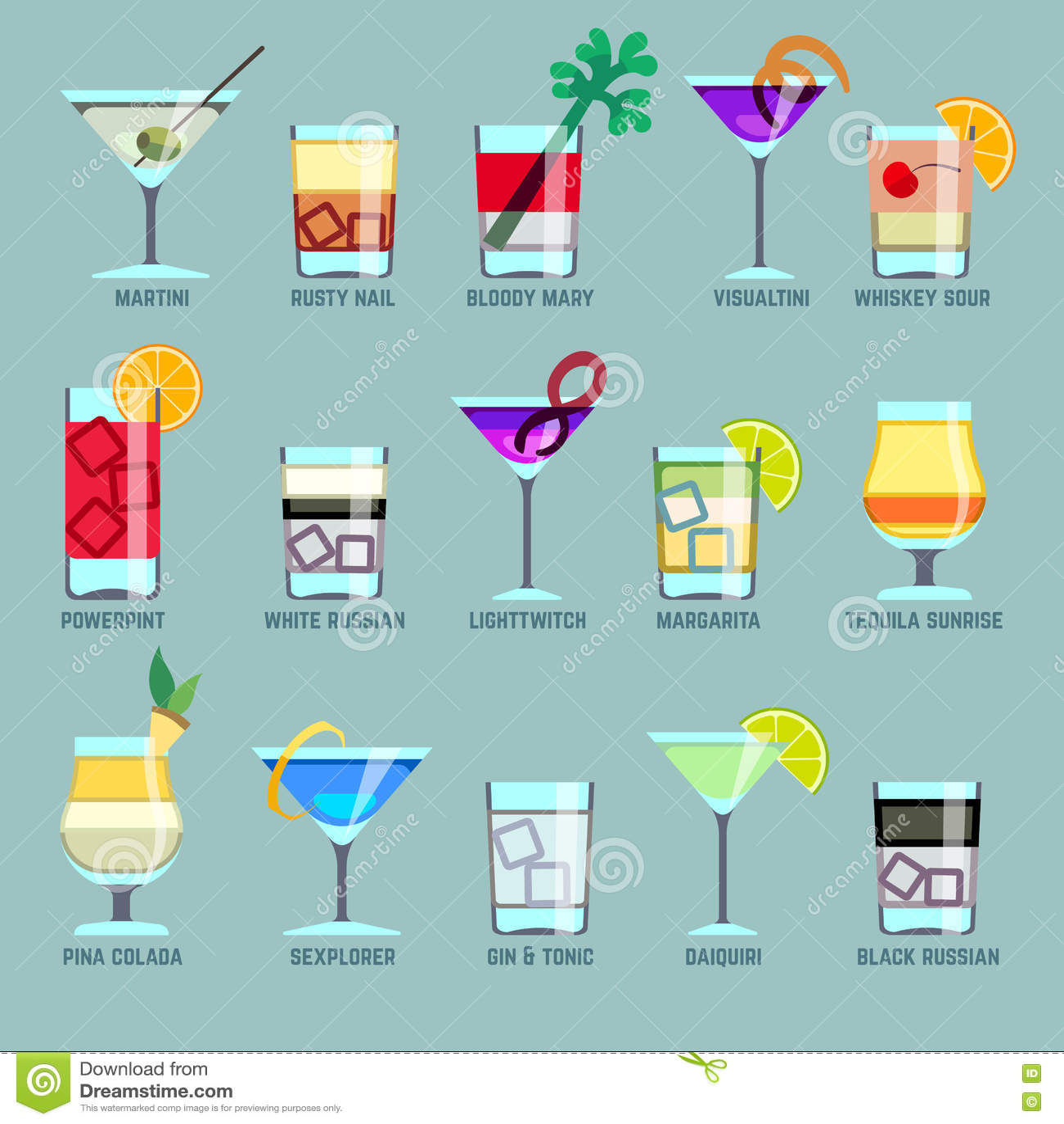 Alcoholdranken en cocktails vlakke vectorpictogrammen