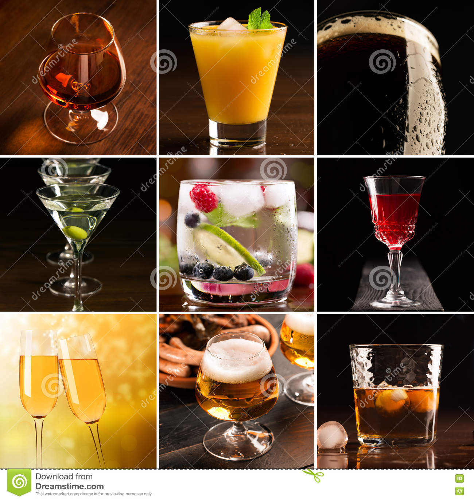 Alcoholic beverages (dark background)