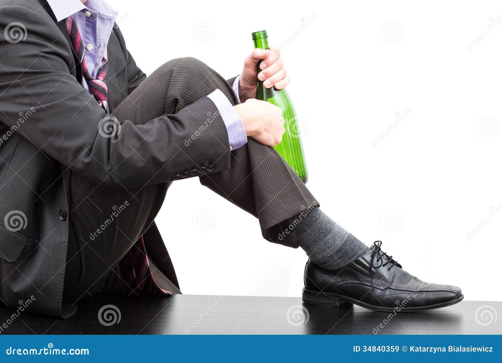 Alcoholic With Bottle Of Wine Royalty Free Stock Images - Image ...
