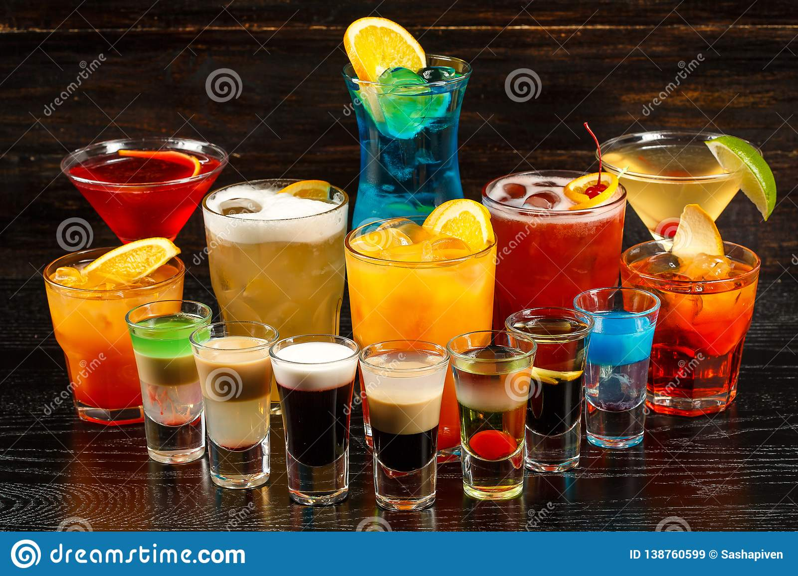 Alcoholic Cocktail Row On Wood Backgroundks, Colorful Party Drinks ...