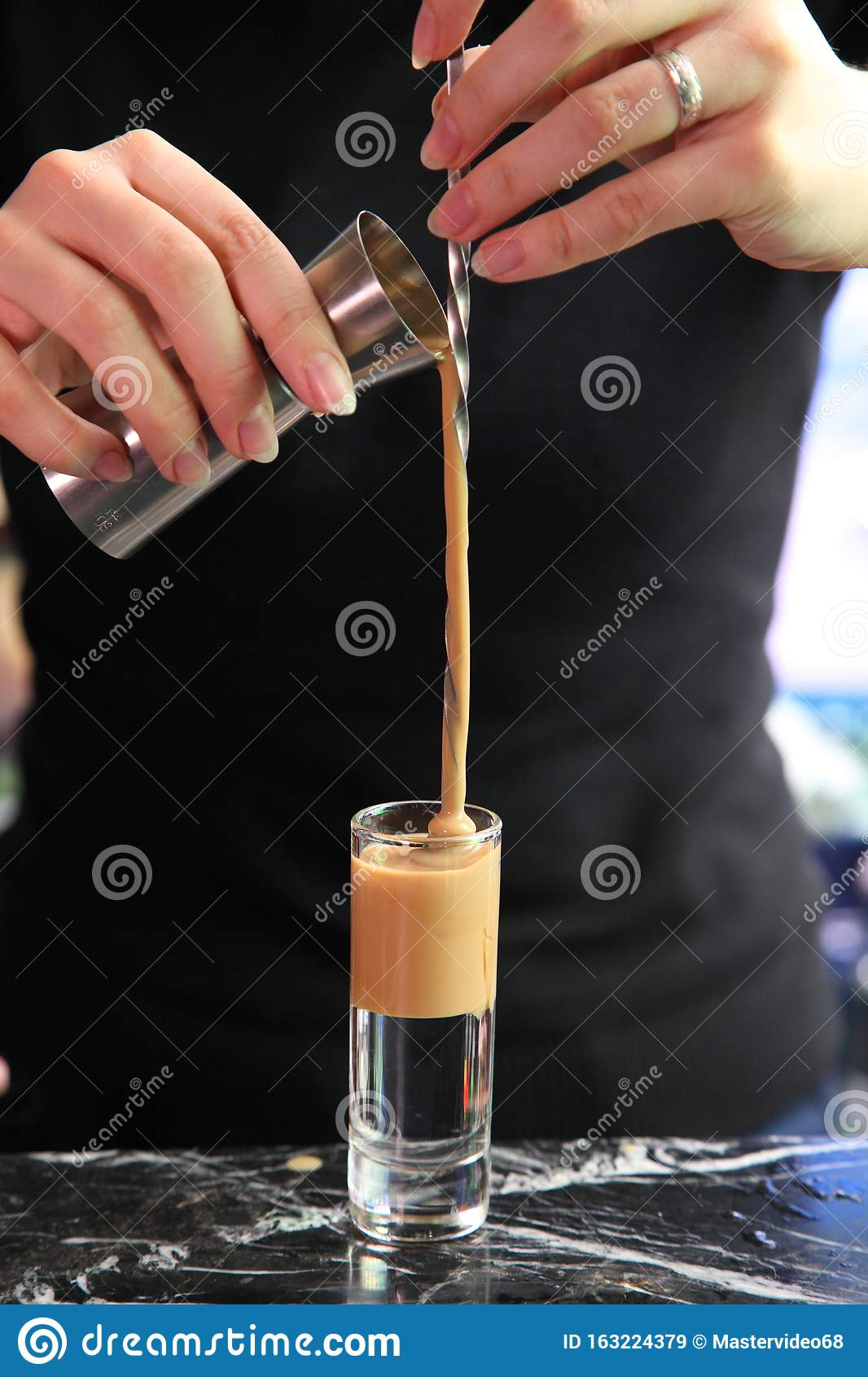 Alcoholic Cocktail Is A Slippery Nipple Shot Slippery Nipple At The Bar Stock Image Image Of Nipple Drops 163224379