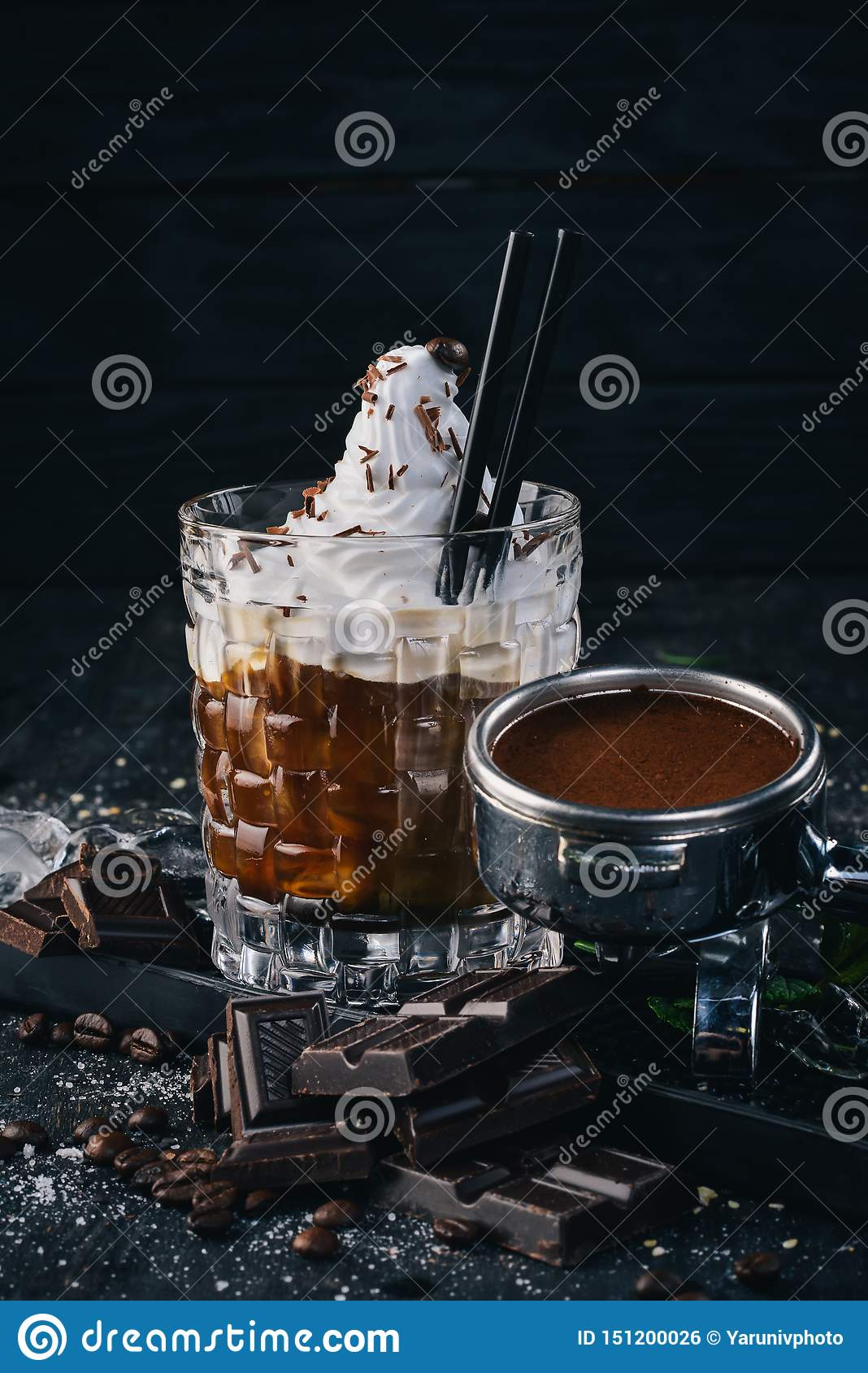 Alcoholic Cocktail White Russian. Coffee Liqueur Stock ...