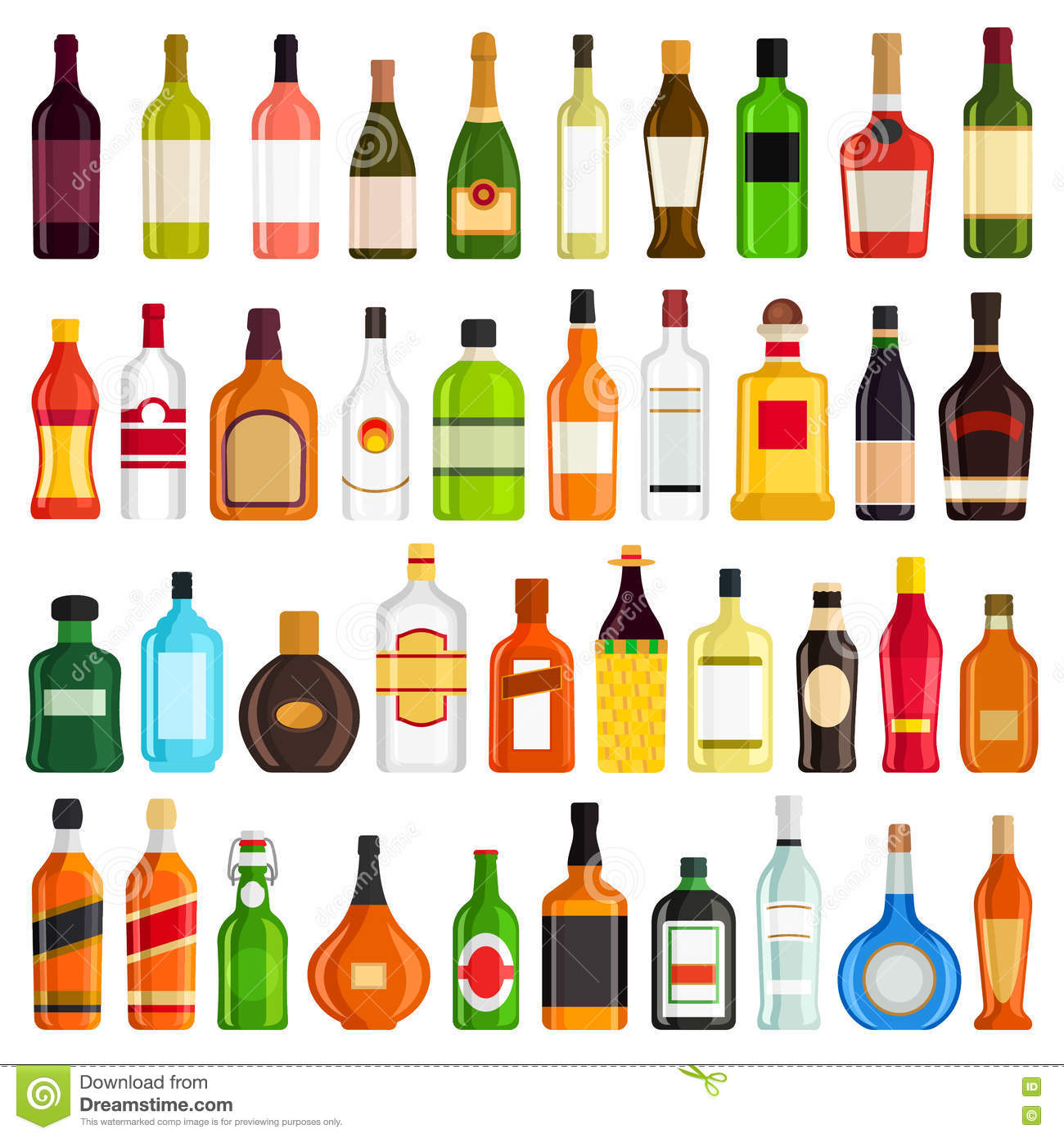 Bottles Of Alcoholic Drinks Royalty-Free Stock Image