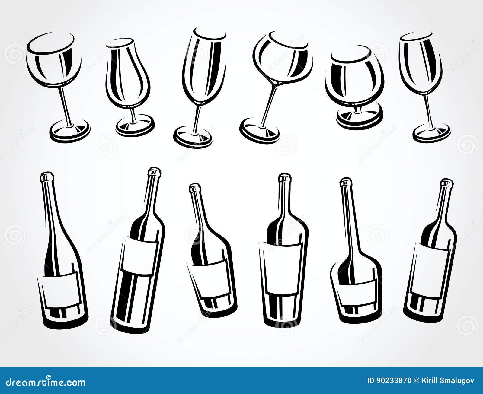 Alcoholische glasinzameling Vector