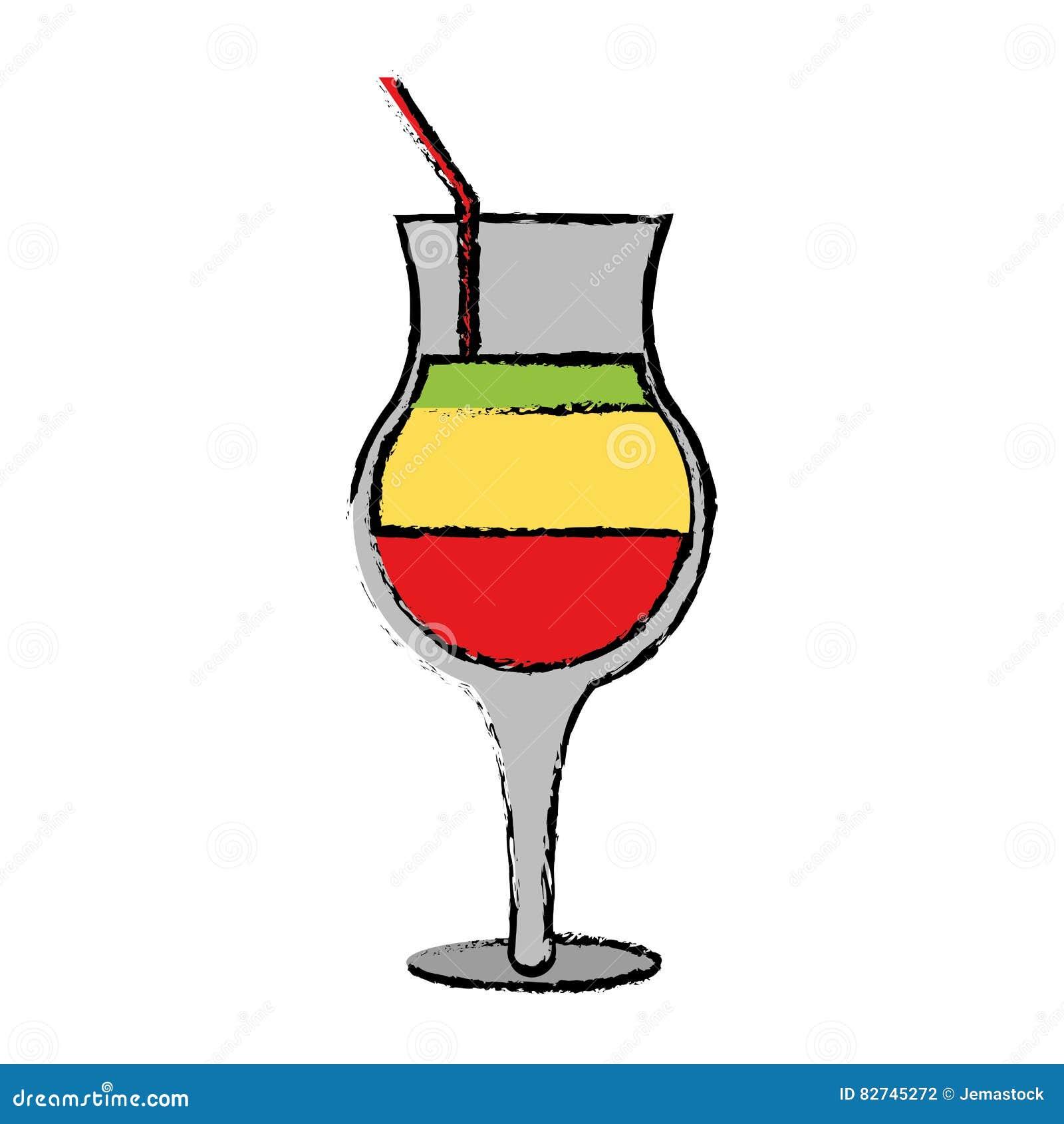Alcool en verre de cocktail d 39 t de dessin multicolore illustration de vecteur image 82745272 - Dessin cocktail ...