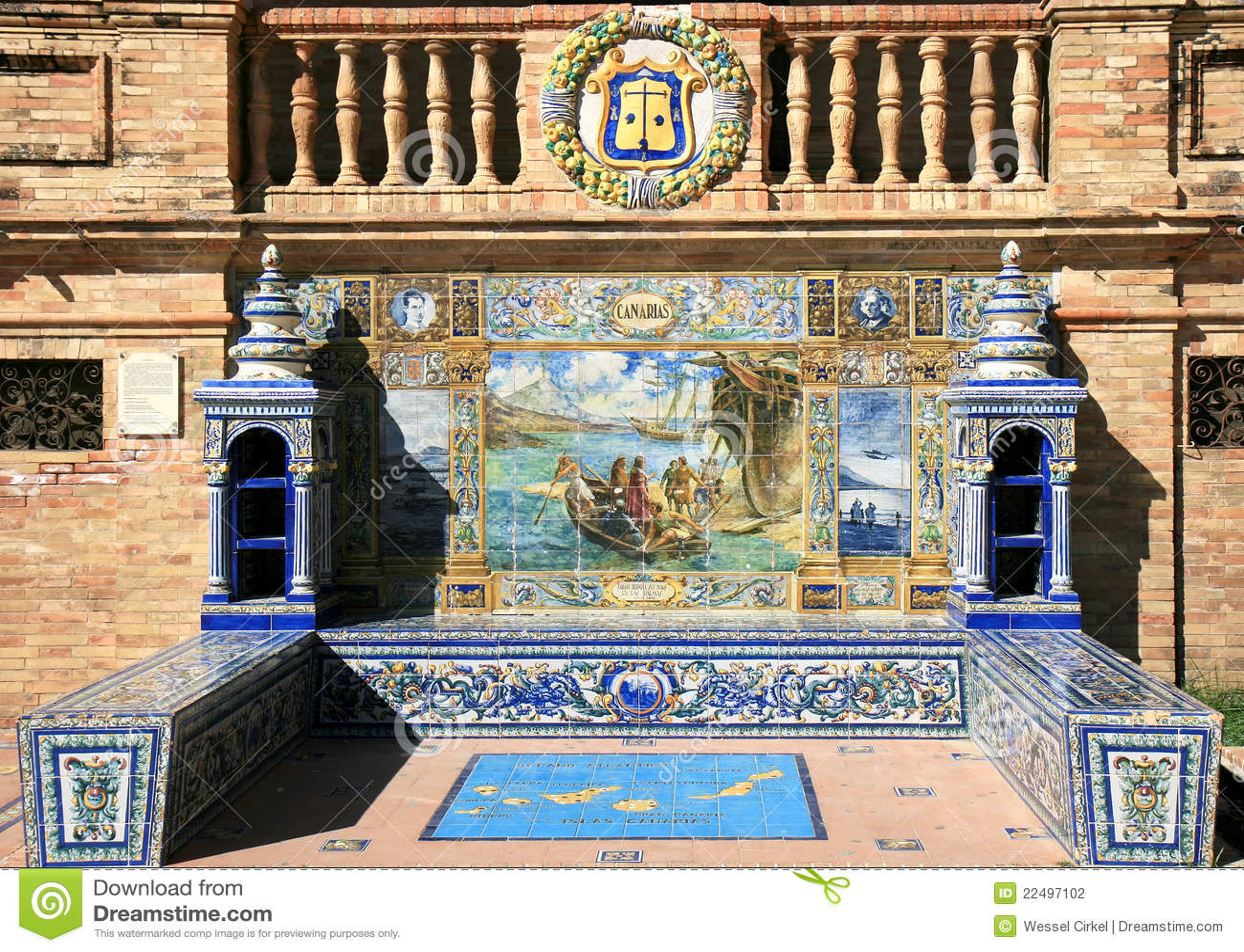 Alcove telhado em Plaza de Espana, Sevilha, Spain