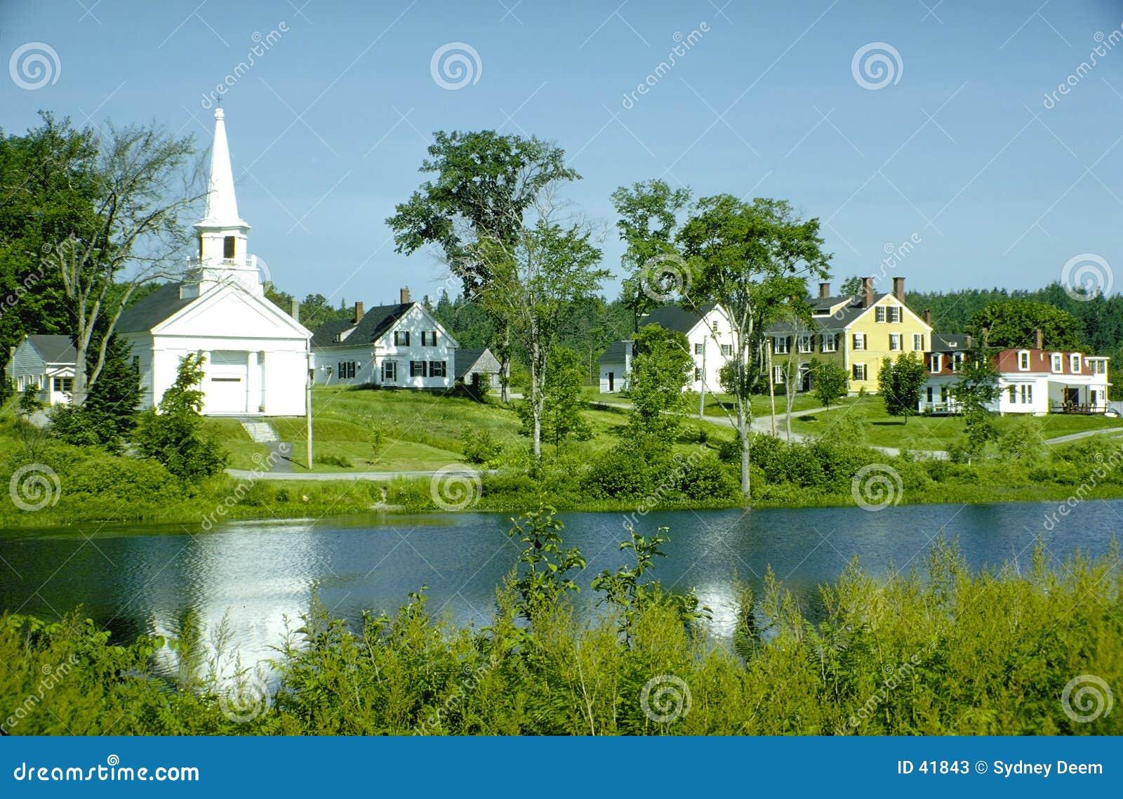 Download Aldea de Nueva Inglaterra imagen de archivo. Imagen de árboles - 41843