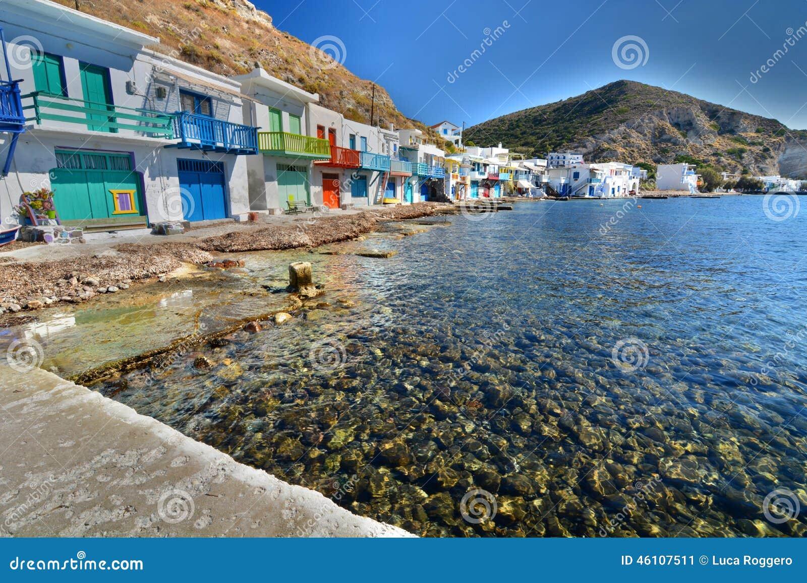 Aldeia piscatória tradicional Klima, Milos Ilhas de Cyclades Greece