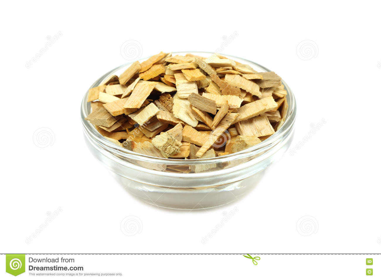 Alder Wood Chips For Smoking In A Glass Container Stock Photo