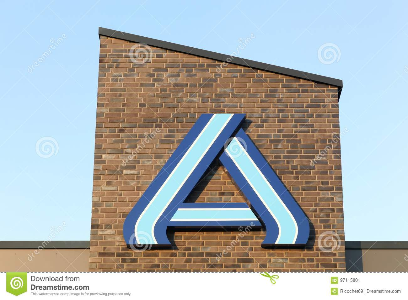 Aldi logo on a wall editorial photo image of discount 97115801 aldi logo on a wall editorial stock photo biocorpaavc