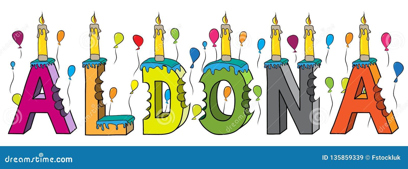 Aldona nome fêmea 3d colorido mordido que rotula o bolo de aniversário com velas e balões