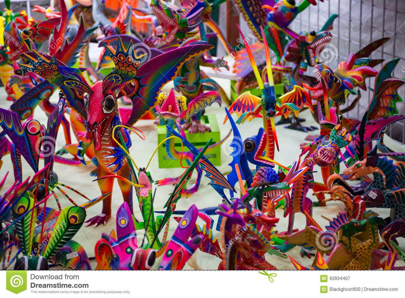 Alebrijes colorful mexican crafts stock image image of for Oaxaca mexico arts and crafts