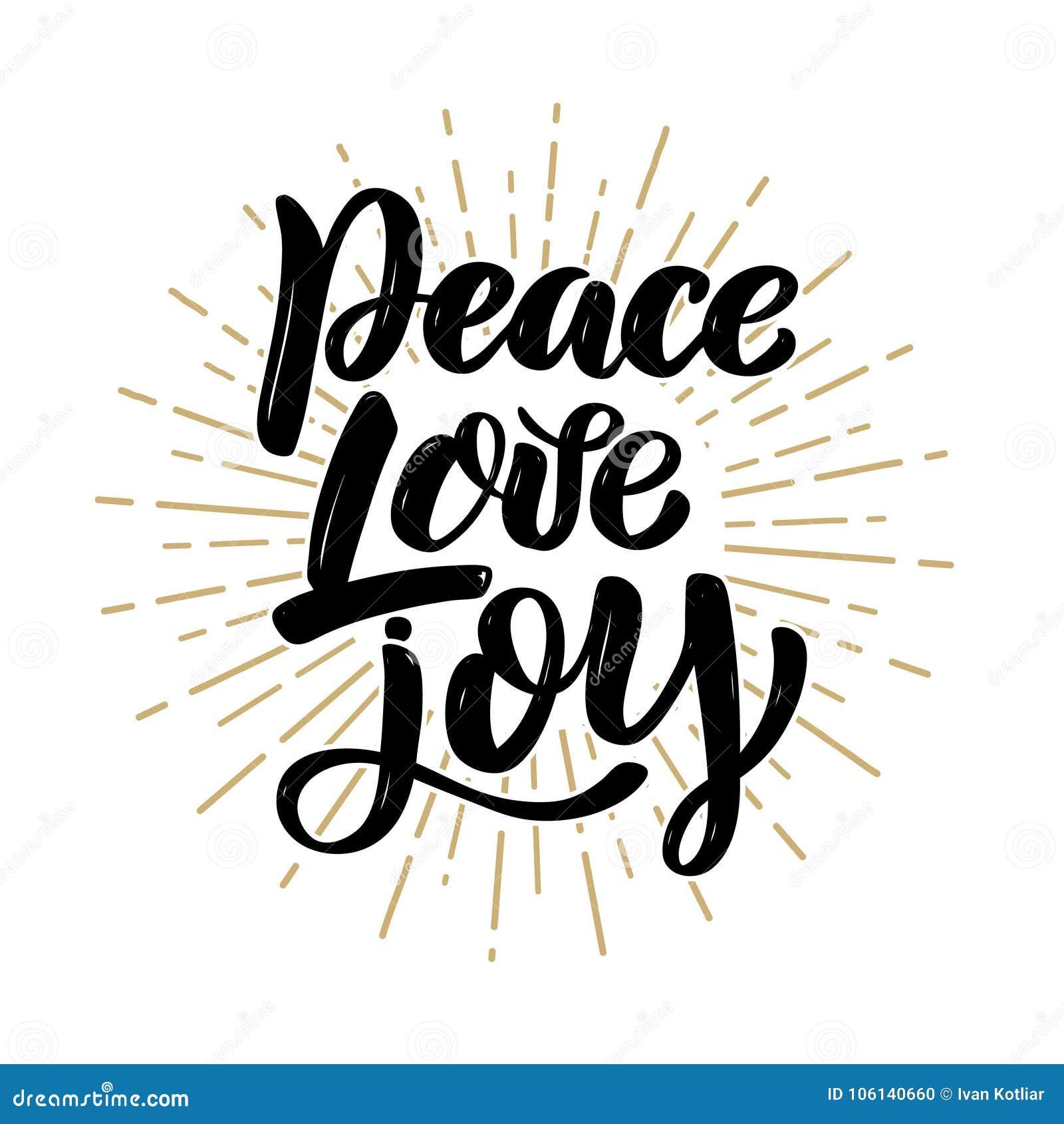 Alegría del amor de la paz Cita dibujada mano de las letras de la motivación Diseñe el elemento para el cartel, bandera, tarjeta