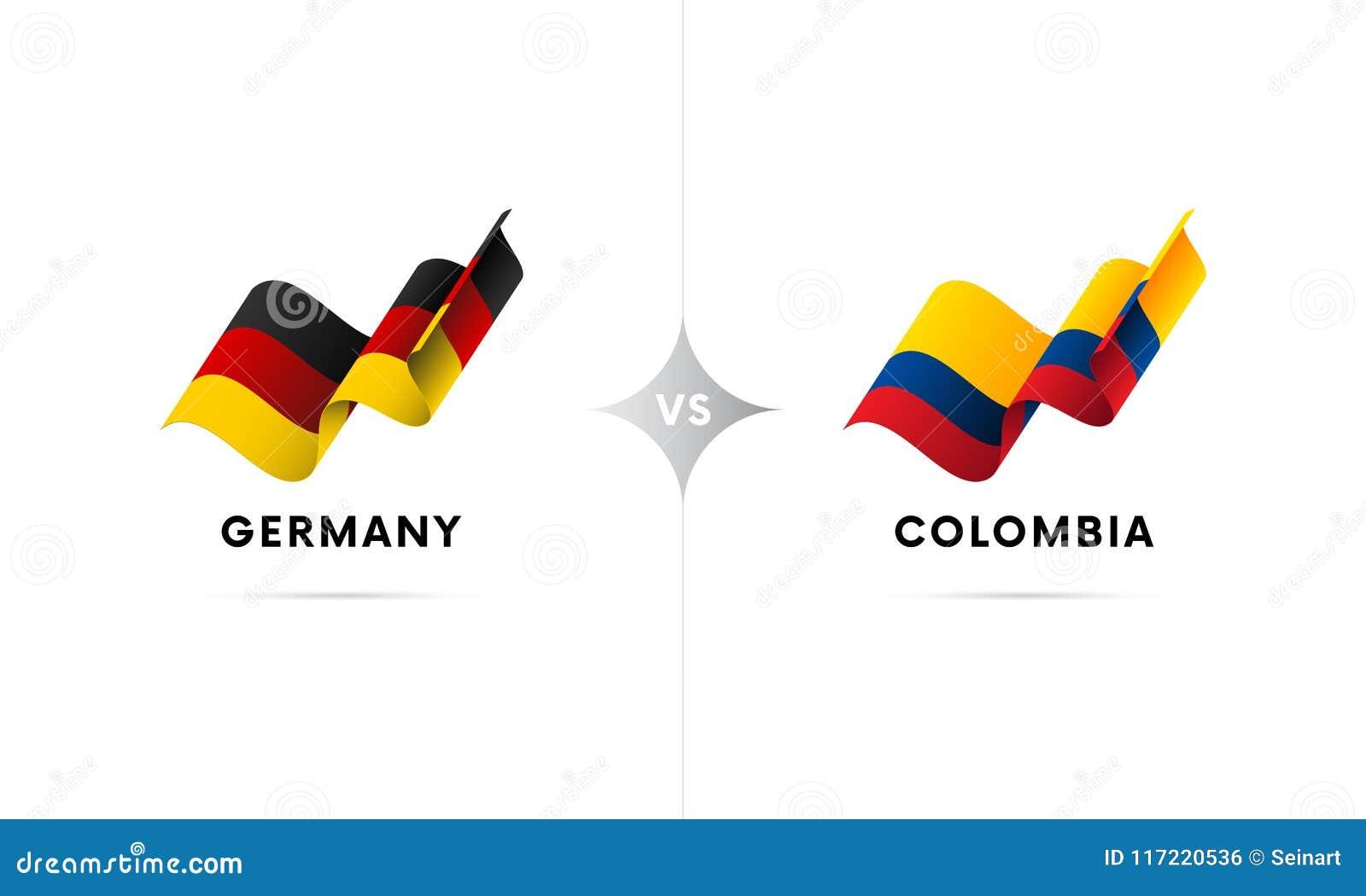 Alemanha contra Colômbia Futebol Ilustração do vetor