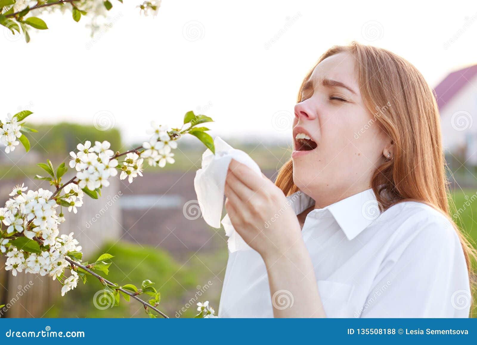 Alergia objawy Nierada młoda kobieta używa tkankę, kicha wszystkie czas, stoi blisko okwitnięcia podczas wiosna czasu, jest ubran