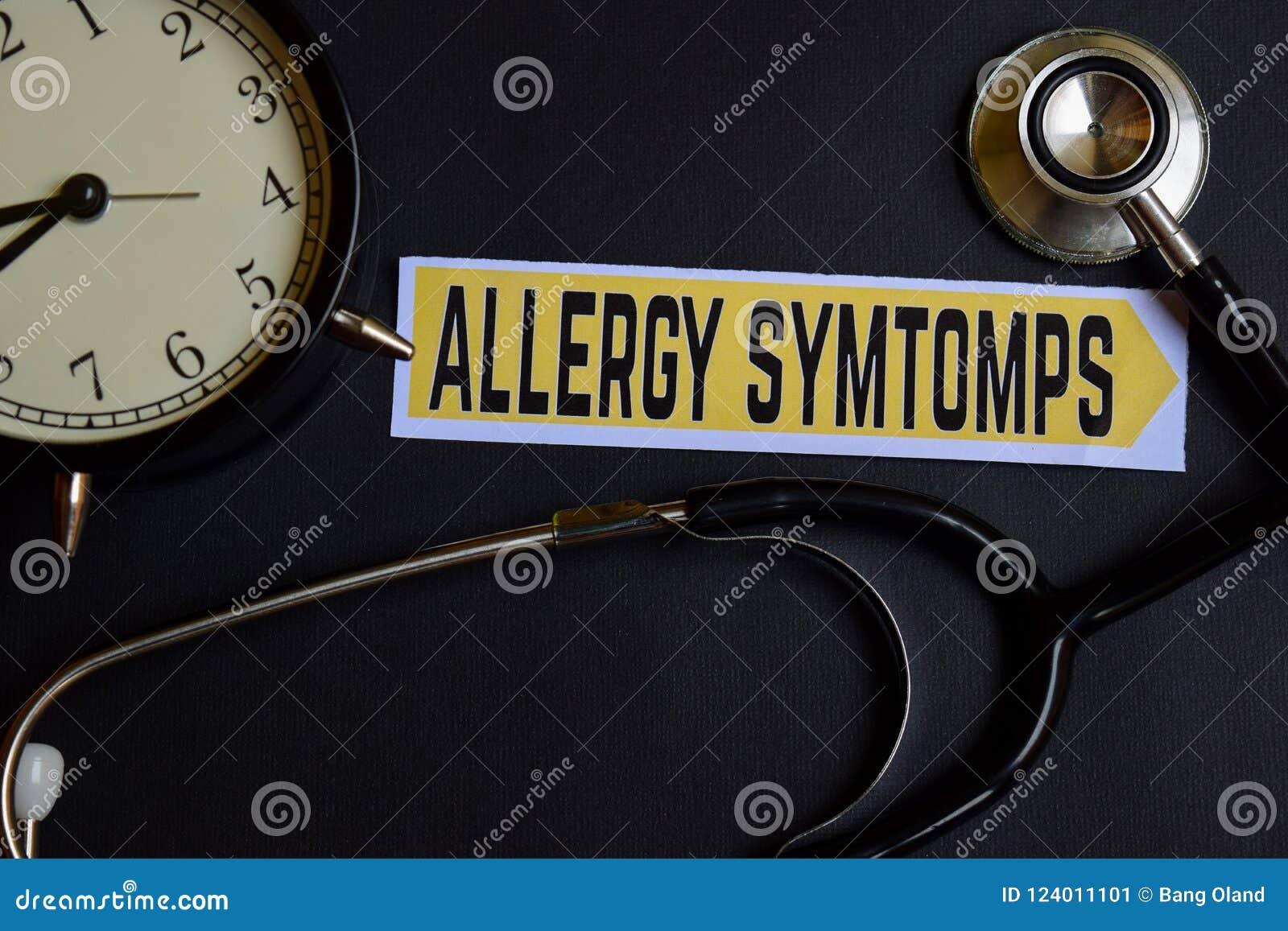 Alergia Symtomps en el papel con la inspiración del concepto de la atención sanitaria despertador, estetoscopio negro