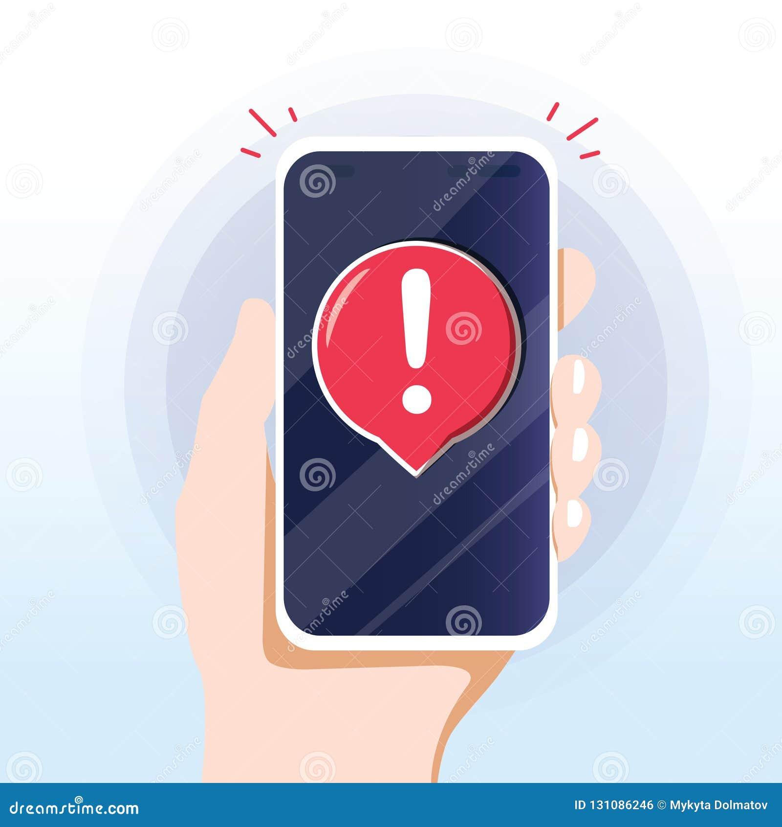 Alert message mobile notification. Danger error alerts, smartphone virus problem or insecure messaging spam problems