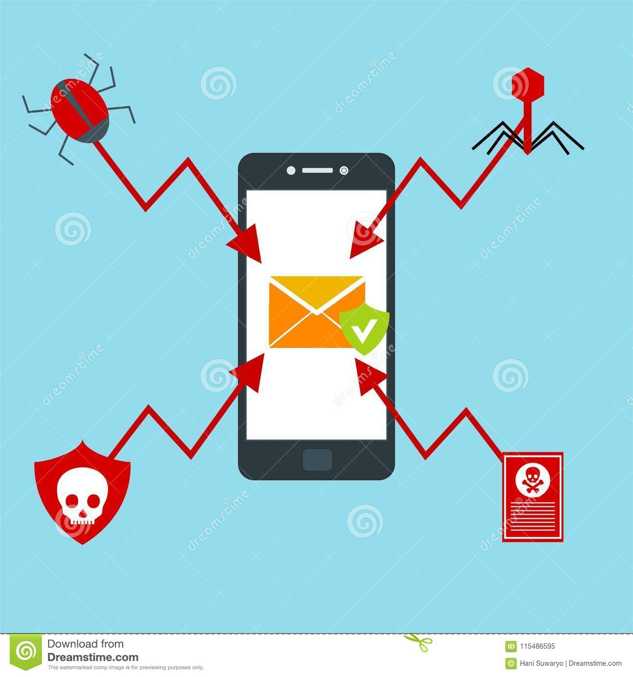 Alert notification on smartphone vector, malware concept, spam data, fraud internet error