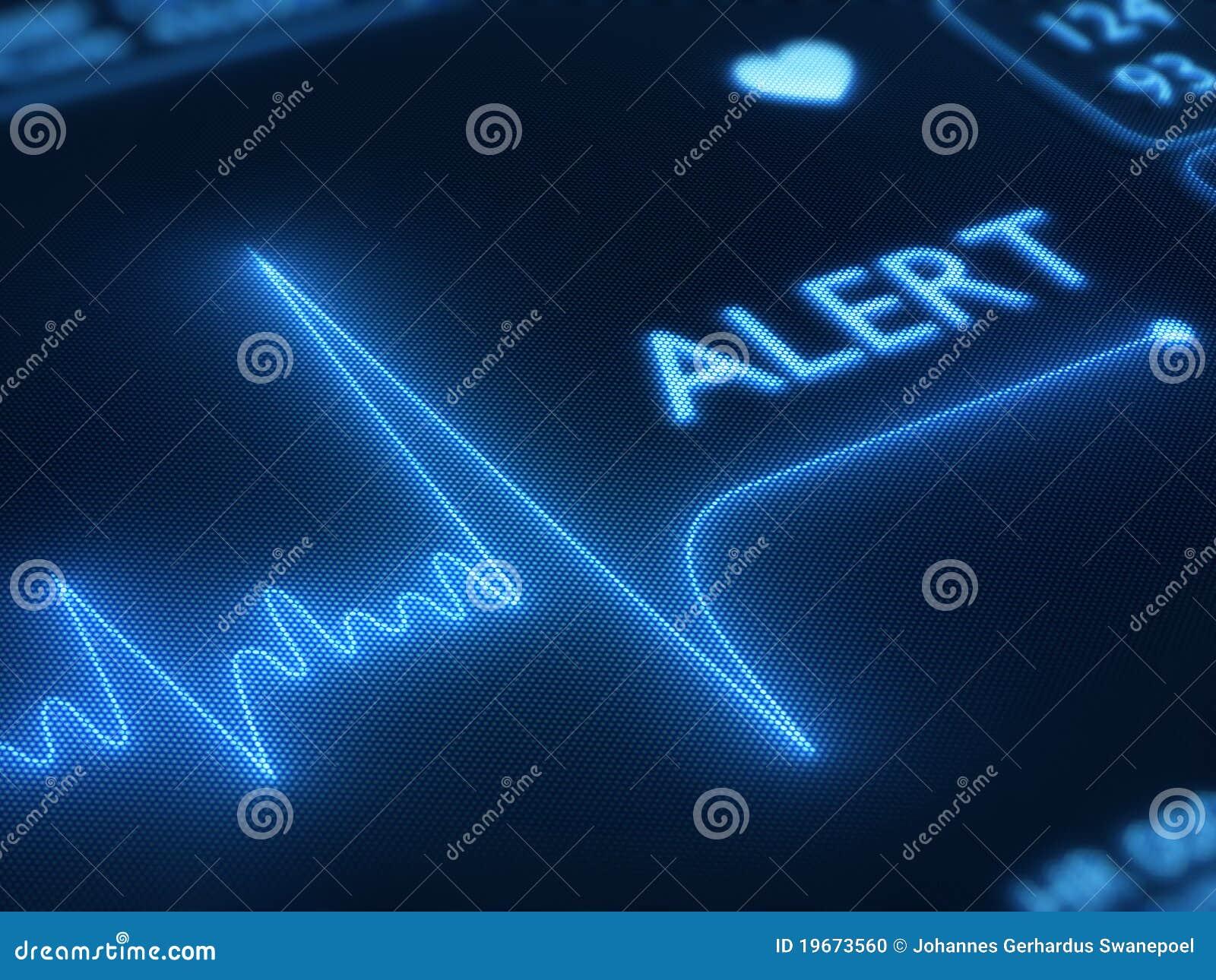 Alert plan hjärtalinje bildskärm