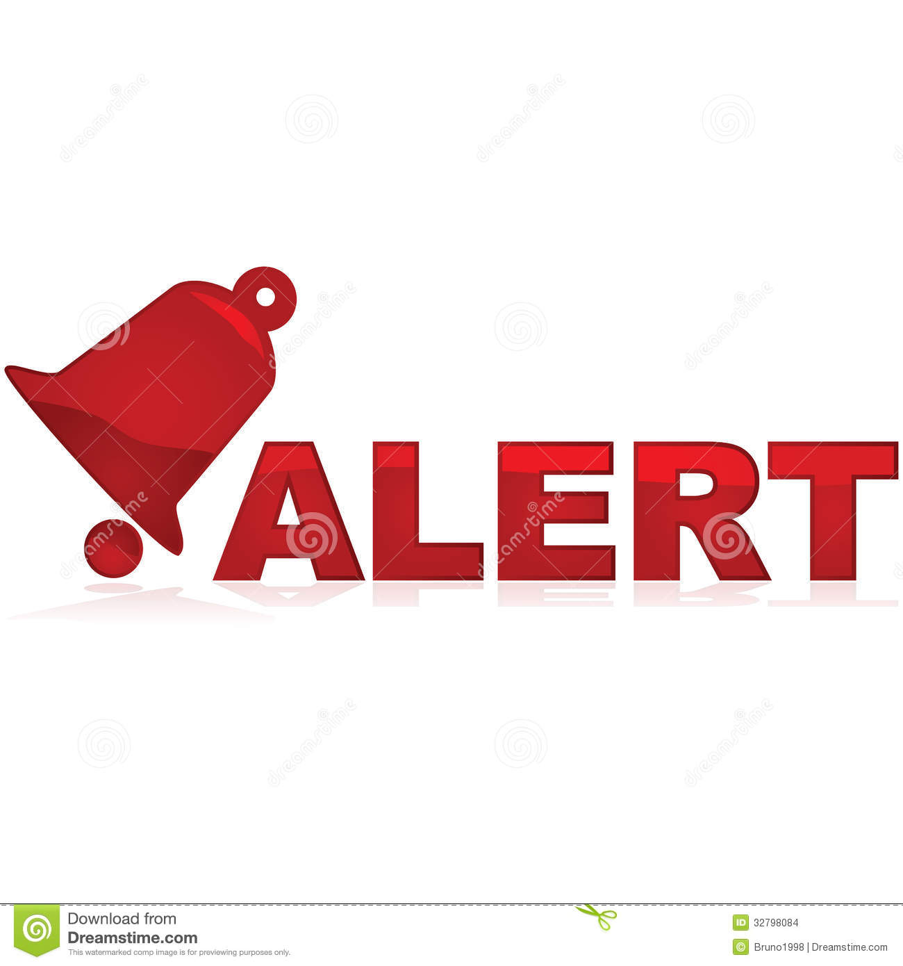Glossy red icon showing a bell and the word alert beside it.